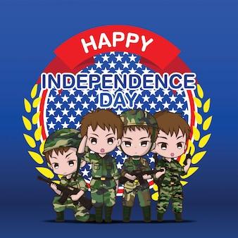 Personagem de banda desenhada bonito do exército, feliz dia da independência.