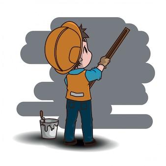 Personagem de banda desenhada bonito do trabalhador da construção., conceito de trabalho