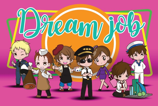 Personagem de banda desenhada bonito dream job.