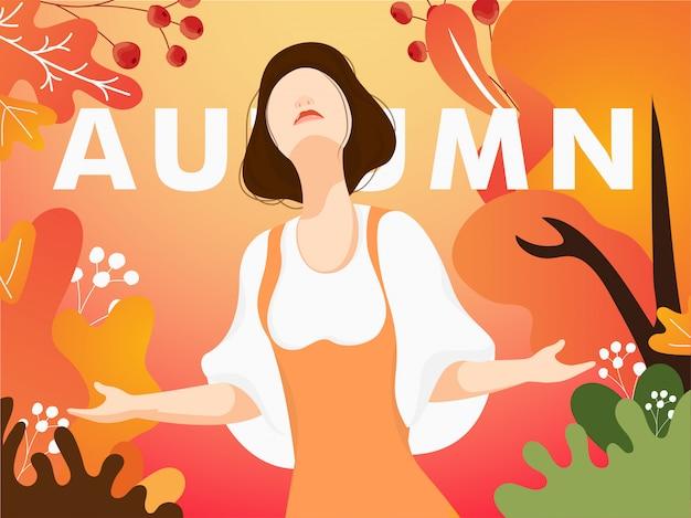 Personagem de banda desenhada da menina bonita que aprecia a estação do outono do olá!