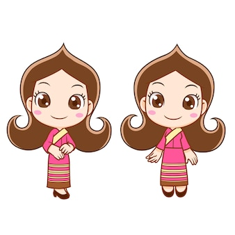 Personagem de banda desenhada da menina da recepção no vestido tailandês.