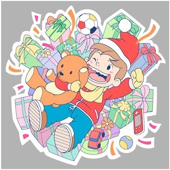 Personagem de banda desenhada de um menino que comemora o dia de ano novo.