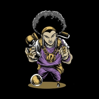 Personagem de banda desenhada disc jockey de cabelos encaracolados