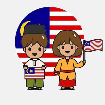 Personagem de bandeira da malásia bonito