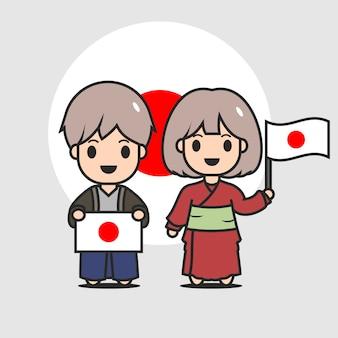 Personagem de bandeira japonesa bonito