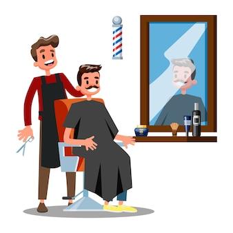 Personagem de barbeiro e homem na cadeira. cabeleireiro segurando