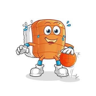 Personagem de basquete de drible de sushi. mascote dos desenhos animados