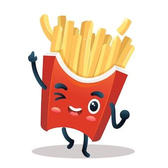 Personagem de batata frita com rosto adorável