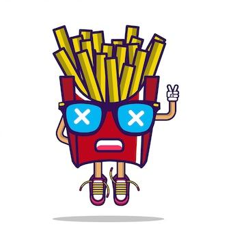 Personagem de batatas fritas de batata de vetor