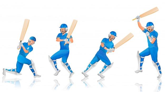 Personagem de batedor de críquete em poses diferentes.