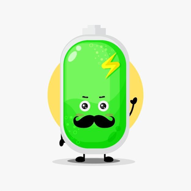 Personagem de bateria fofo com bigode
