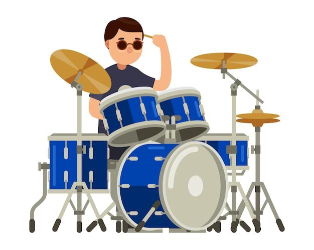 Personagem de baterista com ilustração em vetor conjunto tambor