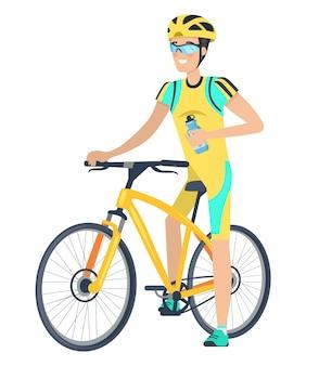 Personagem de bicicleta e ciclista