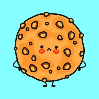 Personagem de biscoitos de aveia fofa e triste
