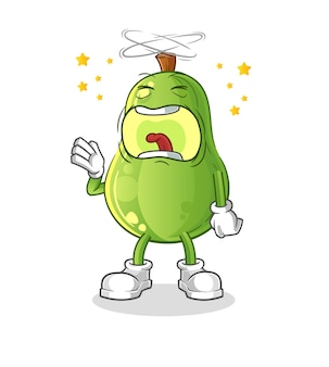 Personagem de bocejo de abacate. vetor mascote dos desenhos animados