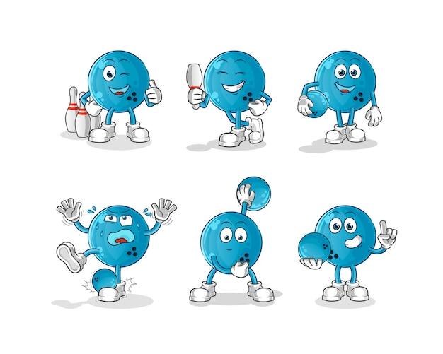 Personagem de bola de boliche. mascote dos desenhos animados
