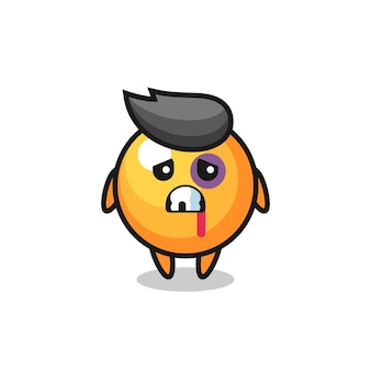 Personagem de bola de pingue-pongue ferida com rosto machucado