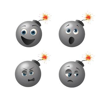Personagem de bomba fofa com diferentes emoções em seu rosto.