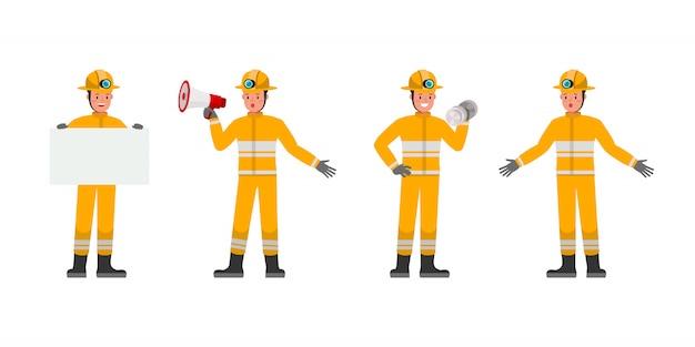 Personagem de bombeiro. apresentação em várias ações. no2