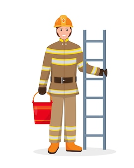 Personagem de bombeiro com escada de incêndio e balde