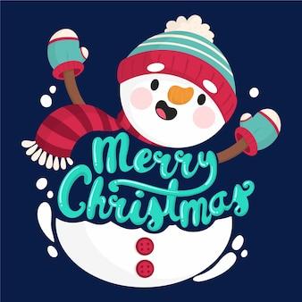 Personagem de boneco de neve com letras