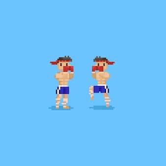Personagem de boxe de chute de pixel