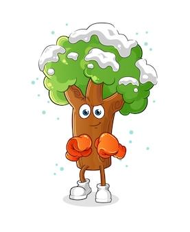 Personagem de boxeador de árvore de inverno. mascote dos desenhos animados