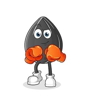 Personagem de boxeador de semente de girassol. mascote dos desenhos animados