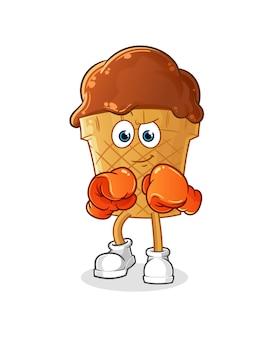 Personagem de boxeador de sorvete de chocolate.