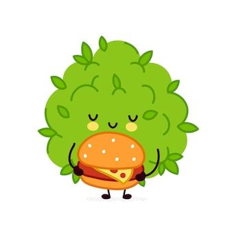 Personagem de broto de erva daninha de maconha engraçado bonito com hambúrguer.