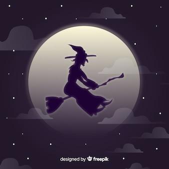 Personagem de bruxa com estilo de silhueta