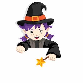 Personagem de bruxa de desenho animado