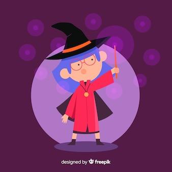 Personagem de bruxa linda com design plano