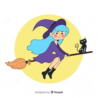 Personagem de bruxa linda mão desenhada