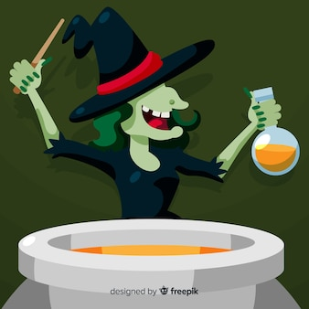 Personagem de bruxa terrível com design plano