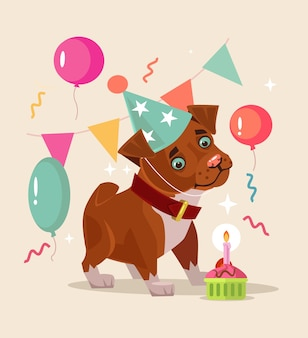 Personagem de cachorro feliz e sorridente comemora o aniversário.