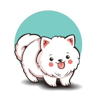 Personagem de cachorro pomeranian bonito dos desenhos animados