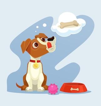Personagem de cachorro sonhando com osso