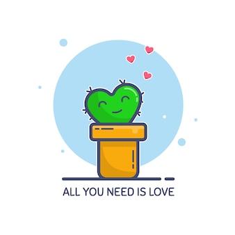 Personagem de cacto pequeno bonito em uma panela, sorrindo com amor.