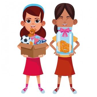 Personagem de caixa de avatar de crianças