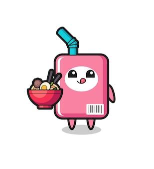 Personagem de caixa de leite fofa comendo macarrão, design de estilo fofo para camiseta, adesivo, elemento de logotipo