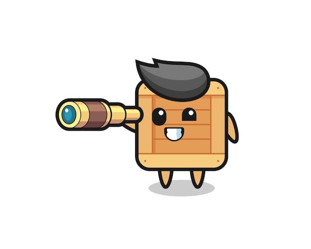 Personagem de caixa de madeira fofa segurando um telescópio antigo, design de estilo fofo para camiseta, adesivo, elemento de logotipo