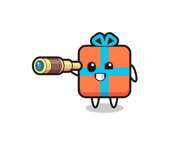 Personagem de caixa de presente fofa segurando um telescópio antigo, design de estilo fofo para camiseta, adesivo, elemento de logotipo