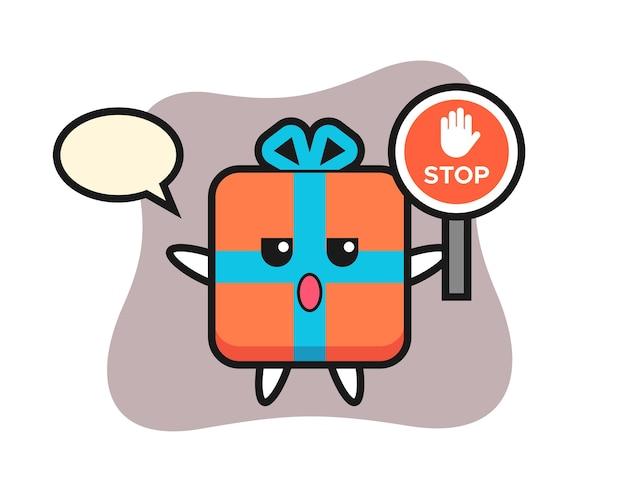Personagem de caixa de presente segurando uma placa de pare