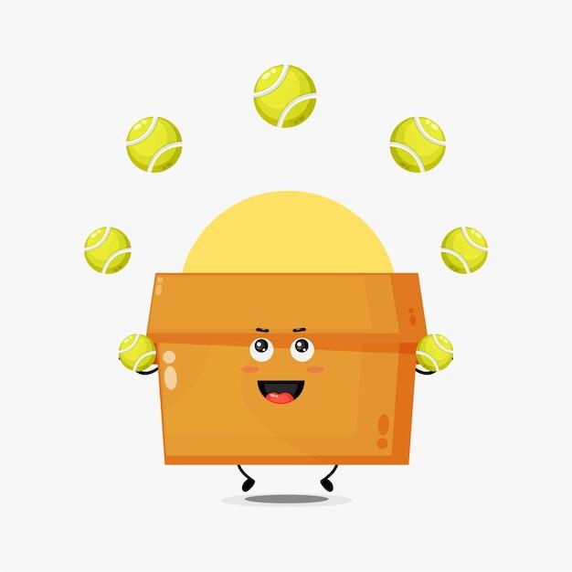 Personagem de caixa fofa jogando bola de tênis