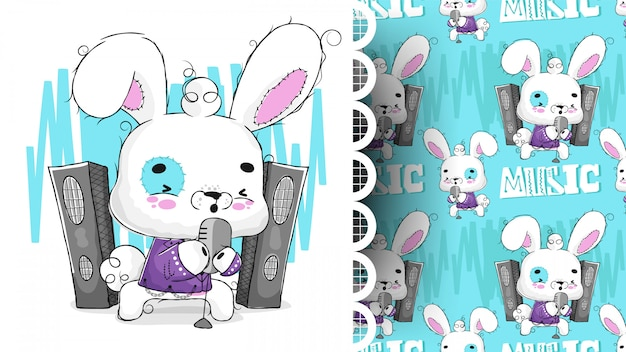 Personagem de canto de coelho roqueiro bonito com padrão
