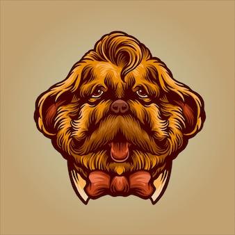 Personagem de cão cavalheiro para movember