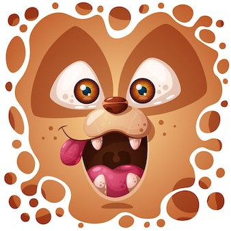 Personagem de cão louco fofo