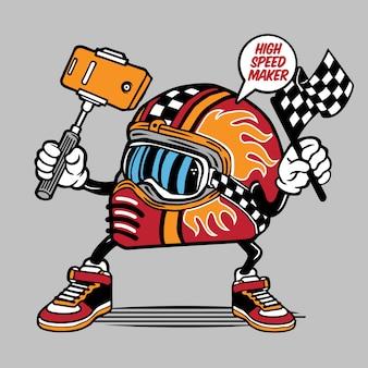 Personagem de capacete de corrida de selfie