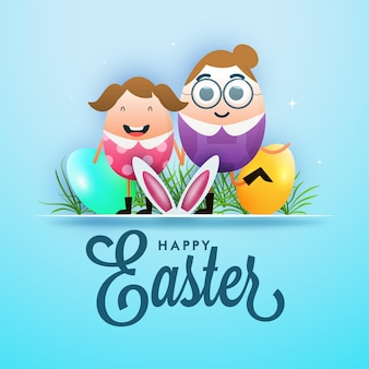 Personagem de casal alegre com ovos brilhantes, grama e orelha de coelho sobre fundo azul para o conceito de feliz páscoa.